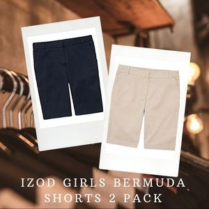 IZOD | Girls Uniform Bermuda Shorts 2 Pack